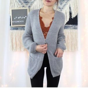 Wild Fable Gray Open Front Pocket Cardigan